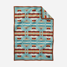 Load image into Gallery viewer, Pendleton Woolen Mills crib blanket Chief Joseph aqua baby Nez Perce warrior strength integrity honor Native American soft wool children gift holiday warmth front