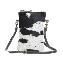 Load image into Gallery viewer, myra bag handbag black and white crossbody purse small travel essentials hairon cowhide leather western accessory
