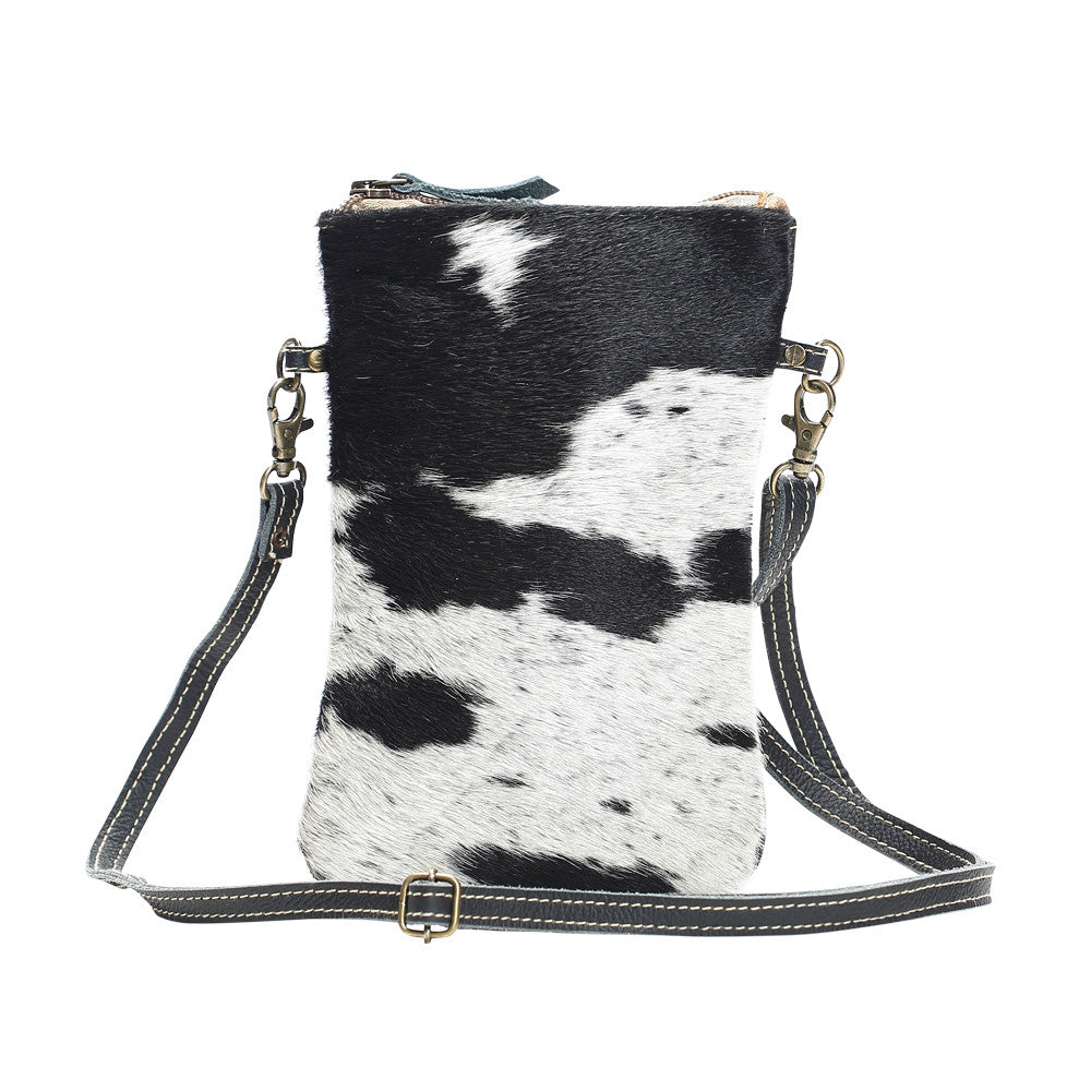 myra bag handbag black and white crossbody purse small travel essentials hairon cowhide leather western accessory