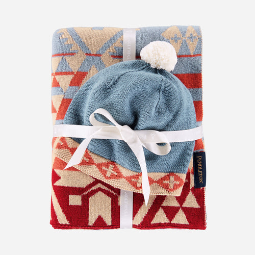 canyonlands desert sky knit baby blanket with beanie cuddly cozy shower gift tribal pattern
