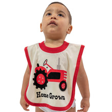 Load image into Gallery viewer, home grown bib cotton red white tractor farming baby infant gift lazy one food spills front on baby