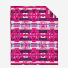Load image into Gallery viewer, Pendleton Woolen Mills american made Chief Joseph Nez Perce Native American blanket throw robe Cherry hot pink breast cancer awareness research fundraiser wool warm gift women back