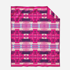 Pendleton Woolen Mills american made Chief Joseph Nez Perce Native American blanket throw robe Cherry hot pink breast cancer awareness research fundraiser wool warm gift women back