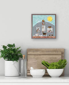 barn party wall art canvas animals under the sunshine alpaca pig goat sheep
