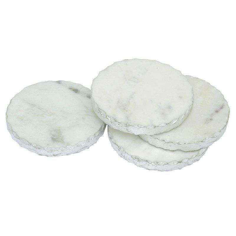silver foil edge marble coaster set of 4 white household decorations MudPie