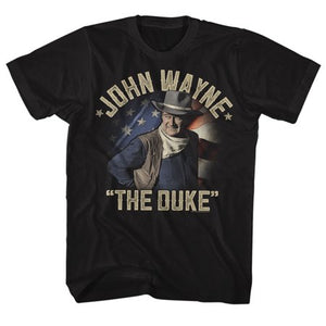 John Wayne the duke returns t-shirt tee black american flag background casual short sleeve crew neck