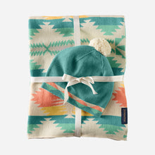 Load image into Gallery viewer, baby blanket with beanie set falcon cove pattern tan multi tribal blue turquoise and peach cuddle cozy cotton baby shower gift