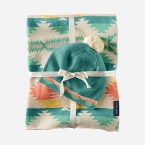 baby blanket with beanie set falcon cove pattern tan multi tribal blue turquoise and peach cuddle cozy cotton baby shower gift