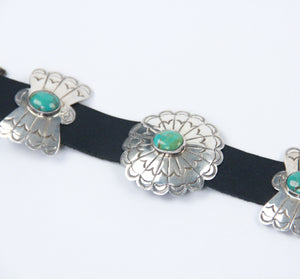 Teller Indian Jewelry concho belt leather sterling silver turquoise stones repeating pattern
