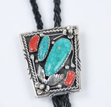 Load image into Gallery viewer, Turquoise and Coral Bolo