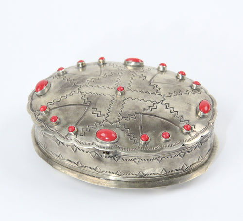 Stamped silver oval shaped box with coral velvet lining jewelry box J. Alexander silver rustic