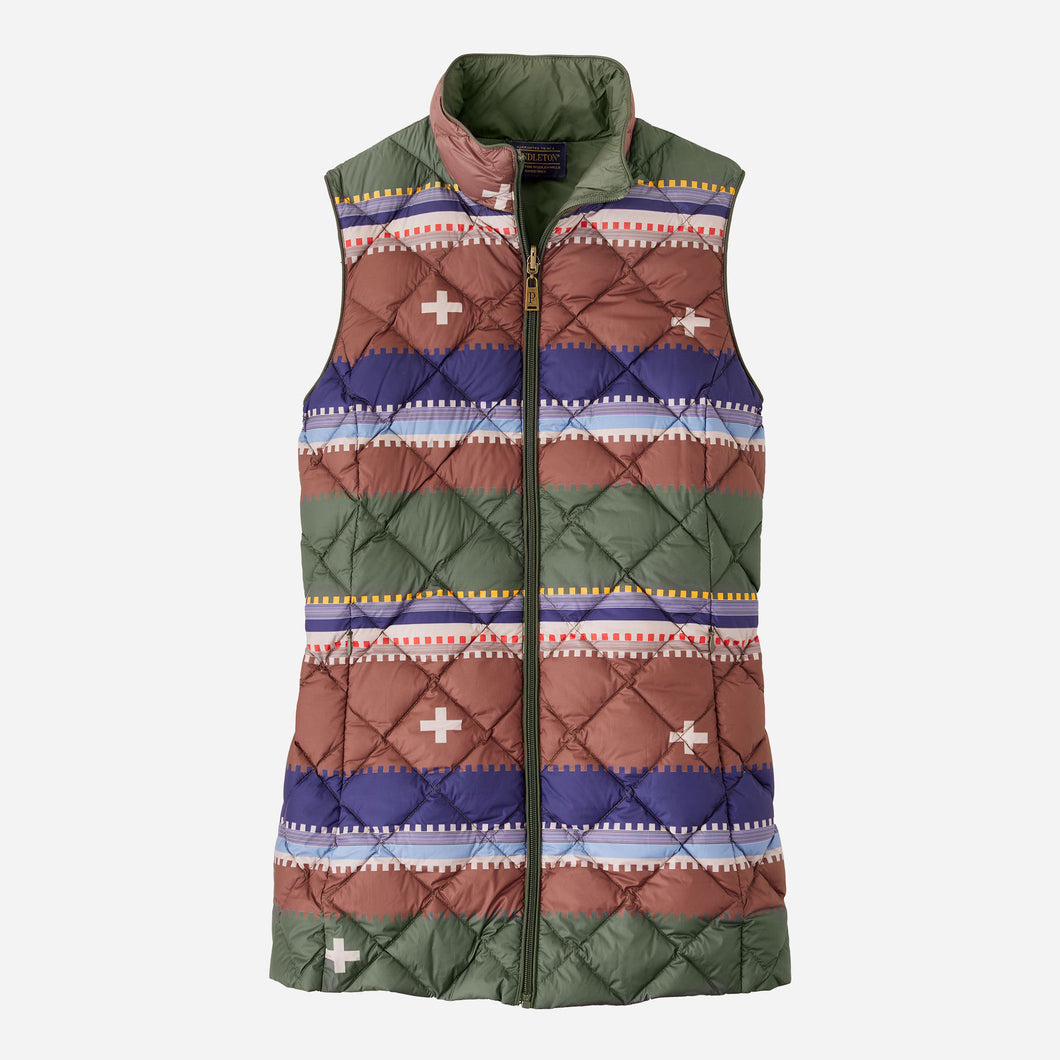 Pendleton Women's Bridger Reversible Down Vest, Olive
