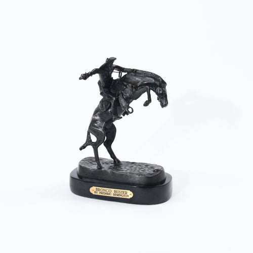 Bronco buster sculpture replica bronze statue Frederic Remington office marble base