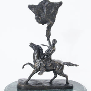 Buffalo Signal by Frederic Remington bronze sculpture statue large back view