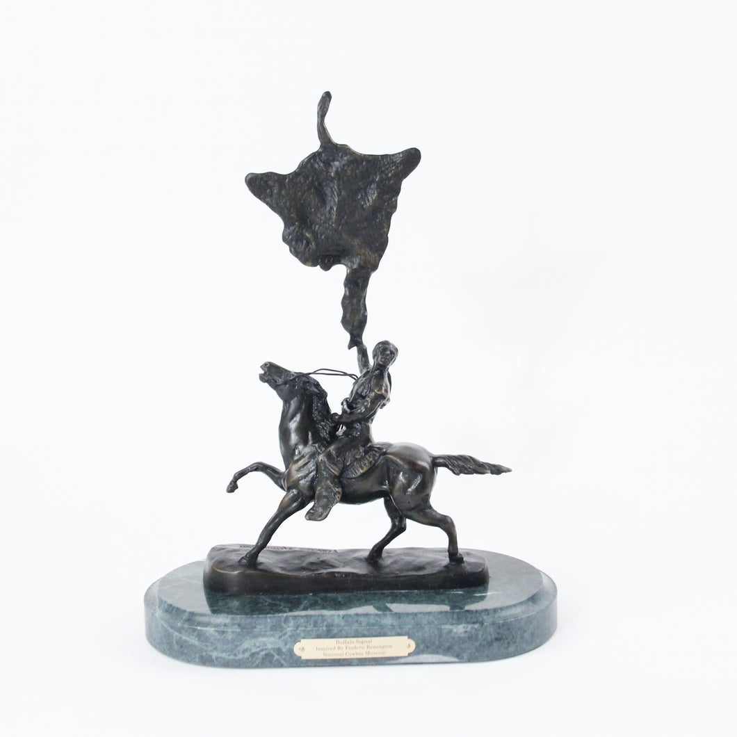 Buffalo Signal by Frederic Remington bronze sculpture statue large