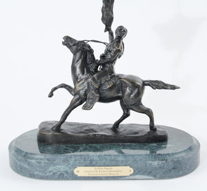 Buffalo Signal by Frederic Remington bronze sculpture statue large detail