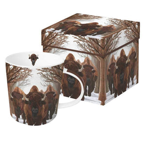 buffalo passage mug in a gift box bison through snowy forest gift kitchen