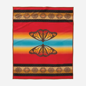 Sitting Bull butterfly jacquard robe blanket Native American college fun brown rainbow
