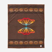 Load image into Gallery viewer, Sitting Bull butterfly jacquard robe blanket Native American college fun brown rainbow