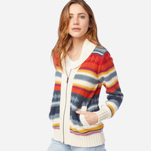 Load image into Gallery viewer, Pendleton Campfire Zip Cardigan, Ivory/Indigo