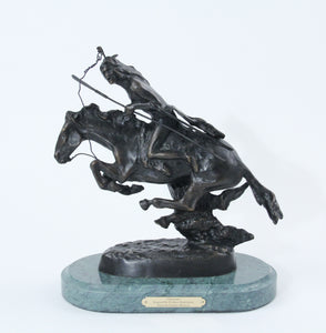 The Cheyenne sculpture bronze cast replica Frederic Remington western artist warrior riding into battle on his horse large