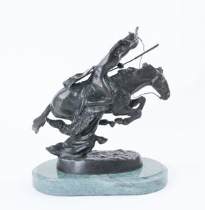The Cheyenne sculpture bronze cast replica Frederic Remington western artist warrior riding into battle on his horse back