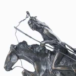 The Cheyenne sculpture bronze cast replica Frederic Remington western artist warrior riding into battle on his horse detail