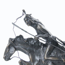 Load image into Gallery viewer, The Cheyenne sculpture bronze cast replica Frederic Remington western artist warrior riding into battle on his horse detail