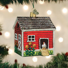 Load image into Gallery viewer, chicken coop ornament from old world christmas tree gift urban farmhouse chickens holiday on the tree