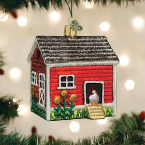 chicken coop ornament from old world christmas tree gift urban farmhouse chickens holiday on the tree