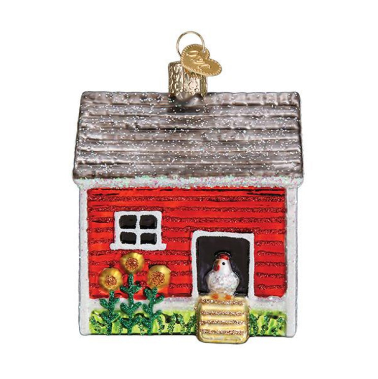 chicken coop ornament from old world christmas tree gift urban farmhouse chickens holiday front
