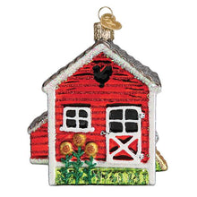 Load image into Gallery viewer, chicken coop ornament from old world christmas tree gift urban farmhouse chickens holiday side view