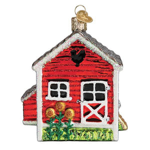 chicken coop ornament from old world christmas tree gift urban farmhouse chickens holiday side view