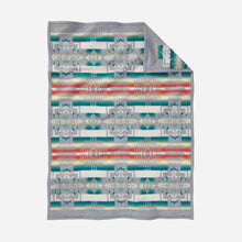 Load image into Gallery viewer, chief joseph crib blanket soft wool grey tribal pattern children gift cuddles back side