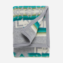 Load image into Gallery viewer, chief joseph crib blanket soft wool grey tribal pattern children gift cuddles folded