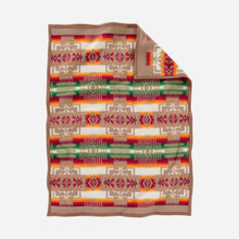Load image into Gallery viewer, pendleton woolen mills chief joseph crib blanket khaki tan pattern baby sleeping soft wool back