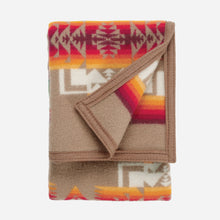 Load image into Gallery viewer, pendleton woolen mills chief joseph crib blanket khaki tan pattern baby sleeping soft wool folded