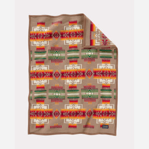 pendleton woolen mills chief joseph crib blanket khaki tan pattern baby sleeping soft wool front