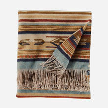 Load image into Gallery viewer, chimayo throw blanket from pendleton woolen mills harvest tan wool cozy cuddle up stripe pattern folded