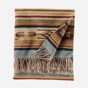 chimayo throw blanket from pendleton woolen mills harvest tan wool cozy cuddle up stripe pattern folded