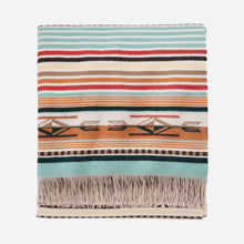Load image into Gallery viewer, Coral aqua stripe chimayo throw folded blanket pendleton woolen mills wool navajo-inspired bright colors