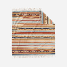 Load image into Gallery viewer, chimayo throw blanket from pendleton woolen mills harvest tan wool cozy cuddle up stripe pattern front