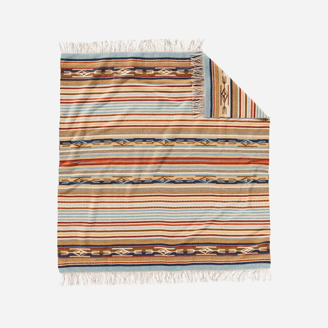 chimayo throw blanket from pendleton woolen mills harvest tan wool cozy cuddle up stripe pattern front
