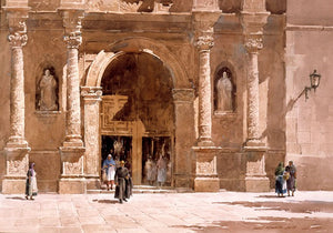 Church facade plaza del oriente print by lowell ellsworth smith signed artwork replica print Prix de West winner 1983 western landscape watercolor