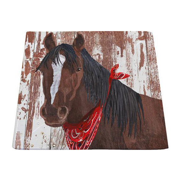 clyde the horse clydesdale square platter serving food red bandanna barnyard friends