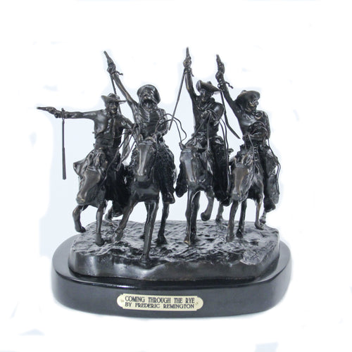 Coming Through the rye by frederic remington sculpture statue bronze replica cowboys on horseback four wild