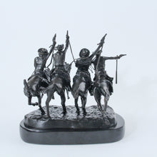 Load image into Gallery viewer, Coming Through the rye by frederic remington sculpture statue bronze replica cowboys on horseback four wild