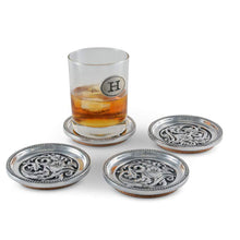 Load image into Gallery viewer, Arthur Court and Vagabond House concho cactuc flower coaster set drink set of 4 silver design southwestern home goods with a glass of whiskey
