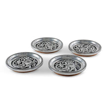 Load image into Gallery viewer, Arthur Court and Vagabond House concho cactuc flower coaster set drink set of 4 silver design southwestern home goods