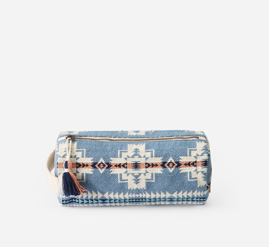 chief joseph cosmetic case bag travel pouch pencil case blue pink white pattern cotton pendleton woolen mills